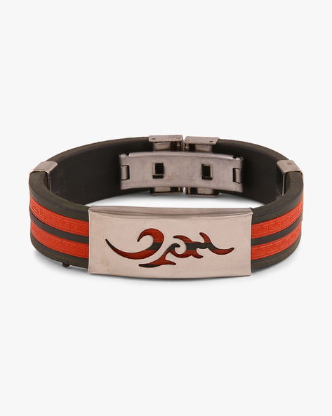 Faux-Leather Bracelet With Silicone Panels By ALPHA MAN ( Red )
