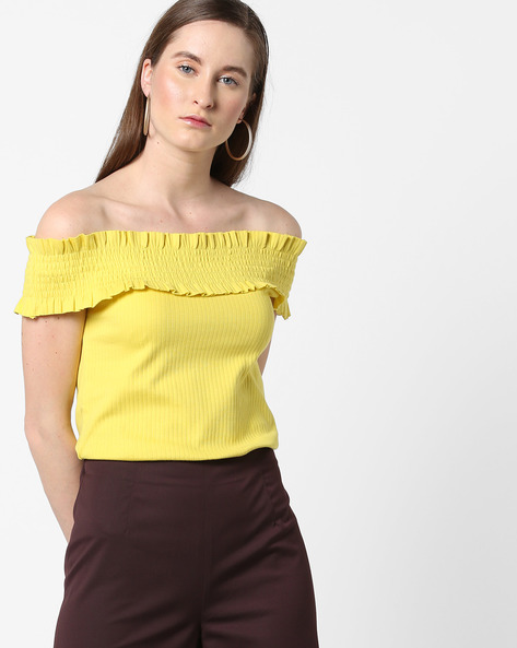 Smocked Off-Shoulder Top By AJIO ( Lightgreen )