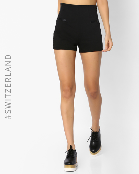 High-Rise Shorts With Side Panels By TALLY WEiJL ( Black )