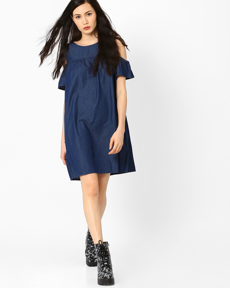 Cold-Shoulder Denim Dress By AJIO ( Blue )