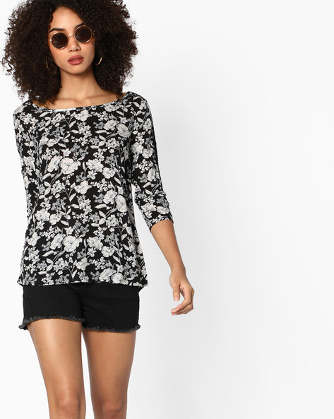 Floral Print Top With Lace Insets By BOSSINI ( Black )