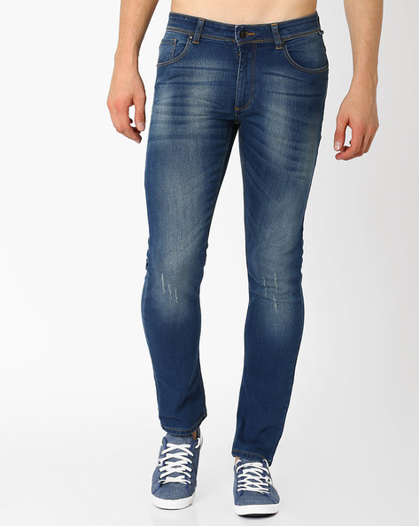Lightly Washed Slim Fit Jeans By Blue Saint ( Indigo ) - 460033037003