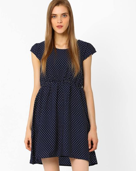 Polka-Dot Fit & Flare Dress By RIO ( Navy )