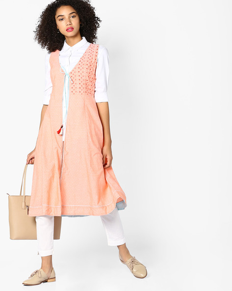 Sleeveless Open-Front Jacket With Tie-Up By AJIO ( Orange )