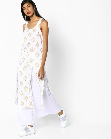 Printed Sleeveless Kurta With Palazzos By AJIO ( White )