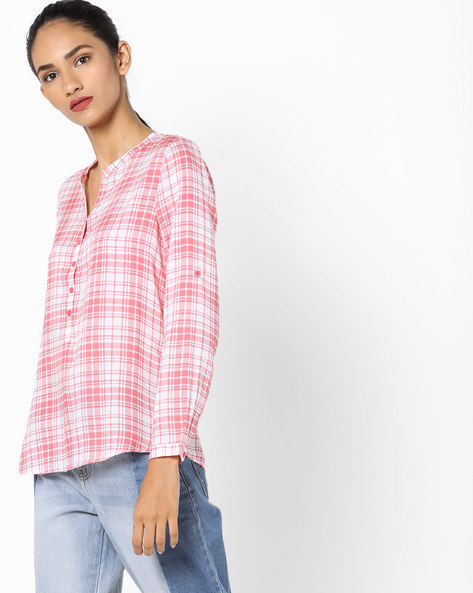 Checked Shirt With Notched Neckline By Fame Forever By Lifestyle ( Pink )