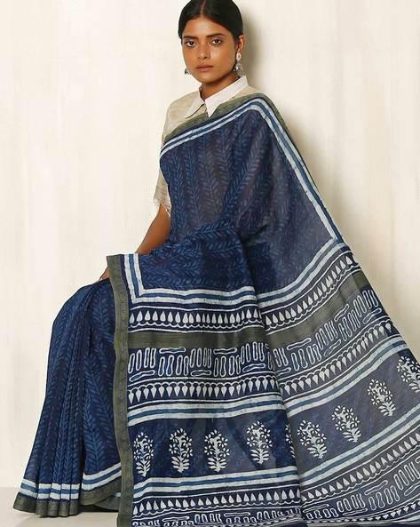 Dabu Handblock Print Indigo Chanderi Saree With Ghicha Border By Indie Picks ( Indigo ) - 460050662001