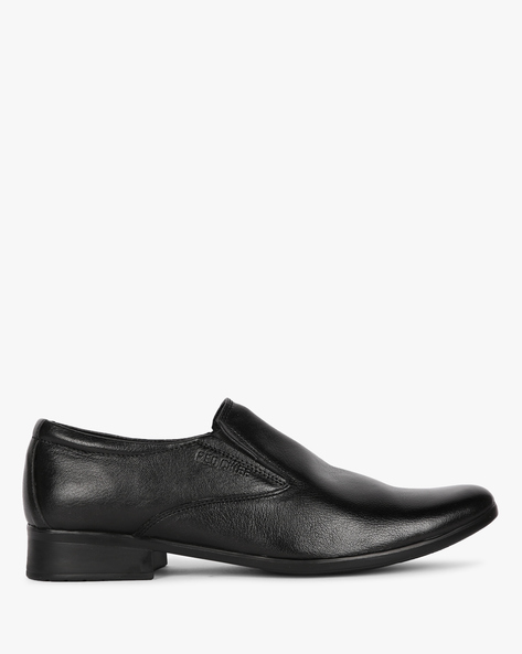 Textured Leather Slip-On Shoes By RED CHIEF ( Black )
