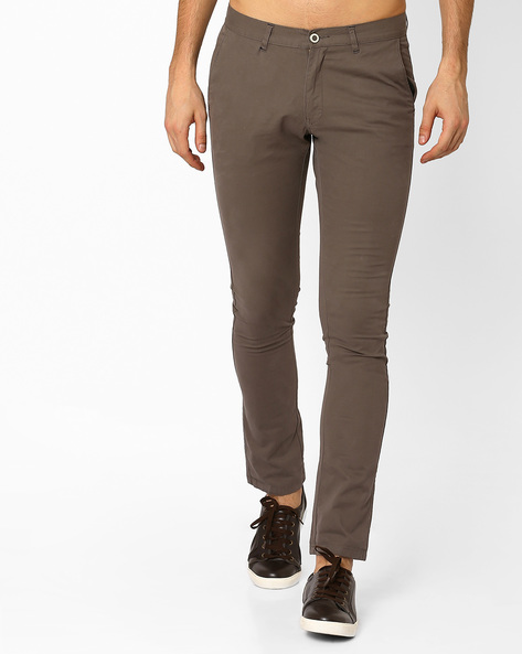 Flat-Front Tapered Fit Chinos By NETPLAY ( Medgrey )