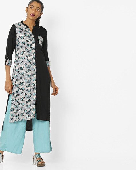 Floral Print High-Low Kurta With Patch Pocket By AVAASA MIX N' MATCH ( Black )