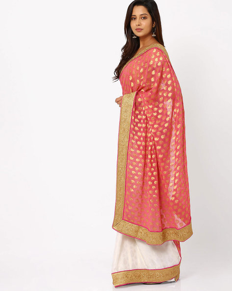 Embroidered Crepe Half & Half Saree By Viva N Diva ( Pink )