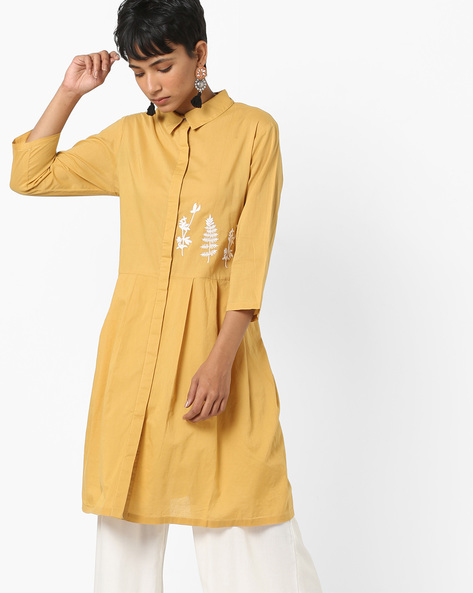 Embroidered Flared Kurta With Spread Collar By AJIO ( Mustard )