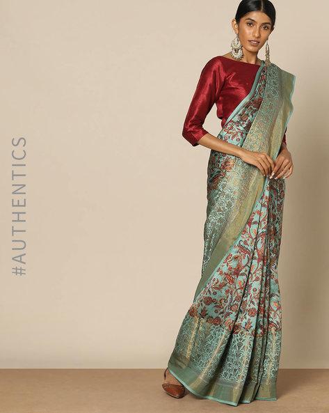 Banarasi Floral Print Pure Silk Saree By Rudrakaashe-MSU ( Seagreen )