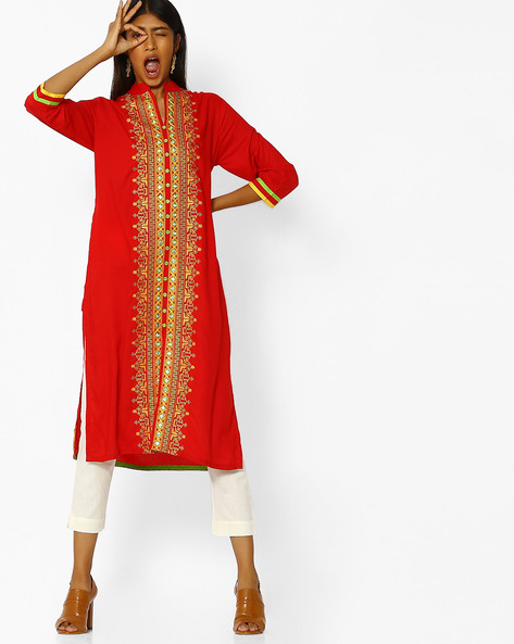 Embroidered Straight Kurta With Front-Slit Hem By Purple Tree ( Red )