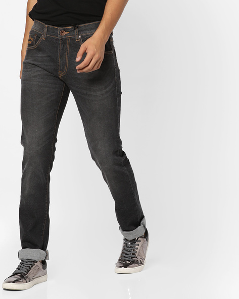 Lightly Washed Slim Fit Jeans By Pepe Jeans ( Grey )