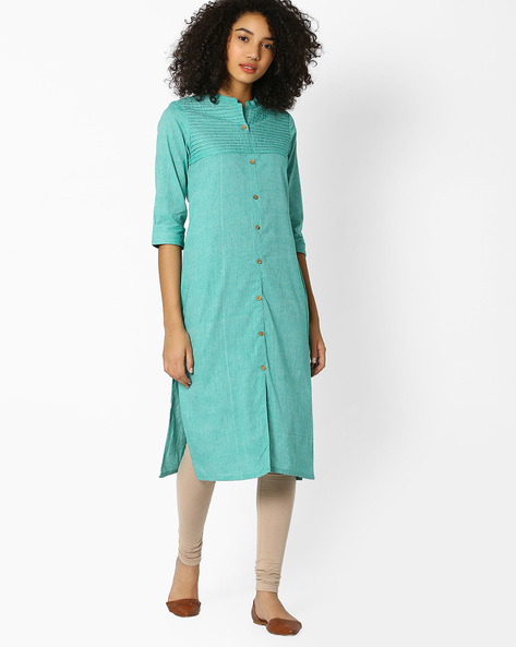 Straight Kurta With Button Placket By Avaasa Ariah ( Teal )