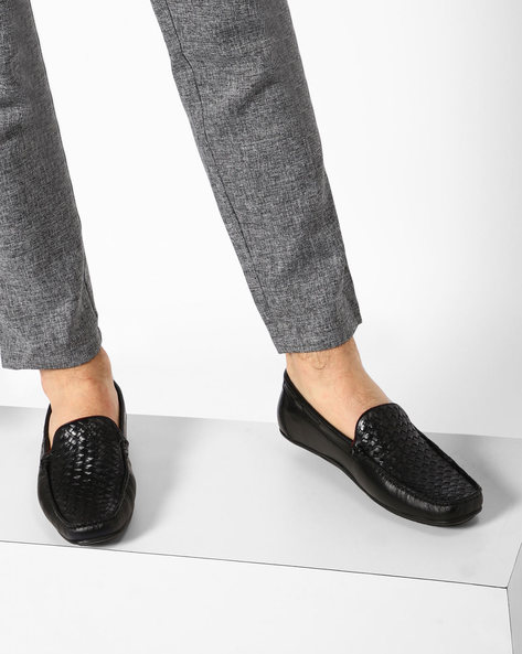 Genuine Leather Loafers With Basket Weave By ALBERTO TORRESI ( Tan )