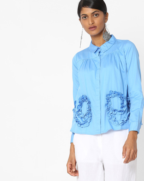 Panelled Top With Ruffles By Evah London ( Blue )