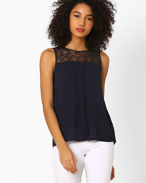 Sleeveless Top With Lace Yoke By Only ( Midnightblue )