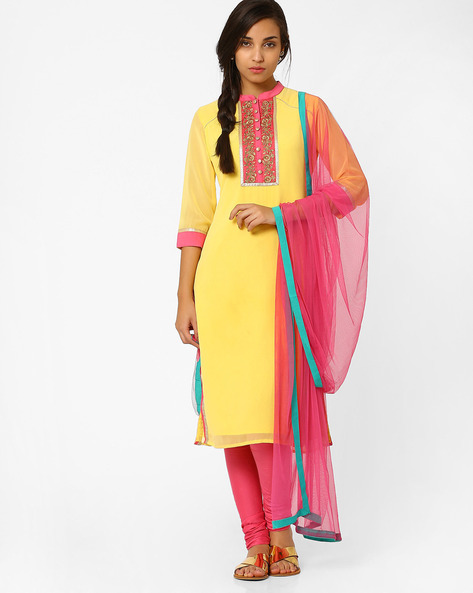 Dupatta With Contrast Taping By AJIO ( Pink )