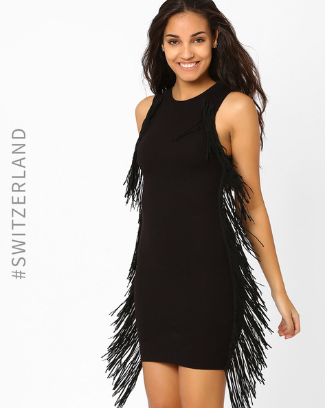 Bodycon Dress With Fringes By TALLY WEiJL ( Black )
