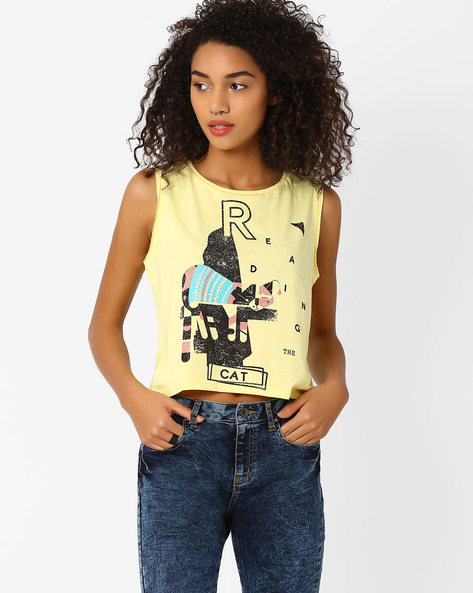 Graphic Print Crop T-shirt By AJIO ( Yellow )