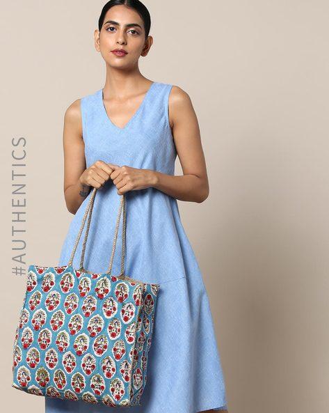 Sanganeri Handblock Print Cotton Jute Tote Bag By Awdhesh Kumar ( Blue )