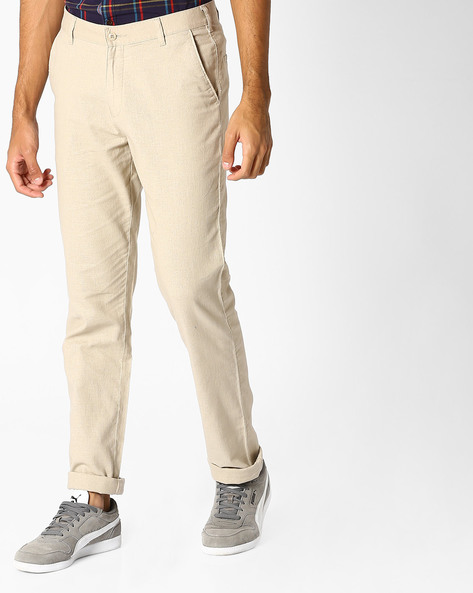 Mid-Rise Flat-Front Chinos By British Club ( Beige )
