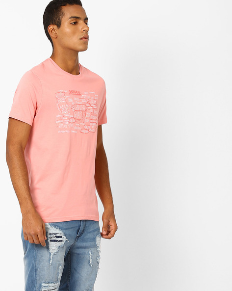 Slim Fit Crew-Neck T-shirt By AJIO ( Pink )