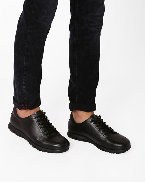 Genuine Leather Panelled Shoes By Hats Off Accessories ( Black )