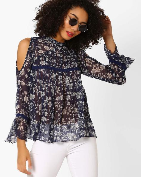 Floral Print Cold-Shoulder Sheer Top By Rena Love ( Blue )