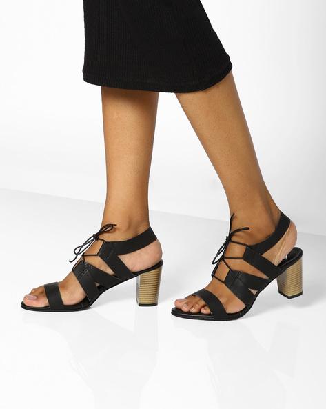 Tie-up Block Heel Sandals By AJIO ( Black )