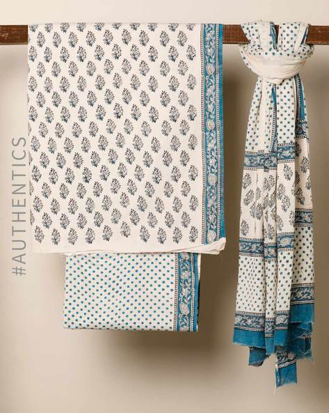 Bagru Handblock Print Cotton 3-Piece Dress Material By Indie Picks ( Blue )