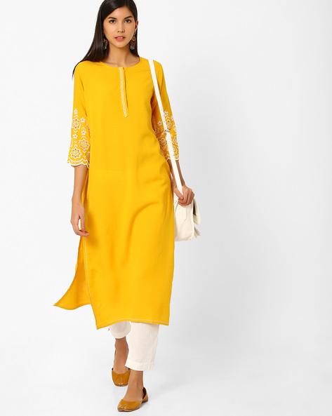 Straight Kurta With Eyelet Detailing By Global Desi ( Mustard )