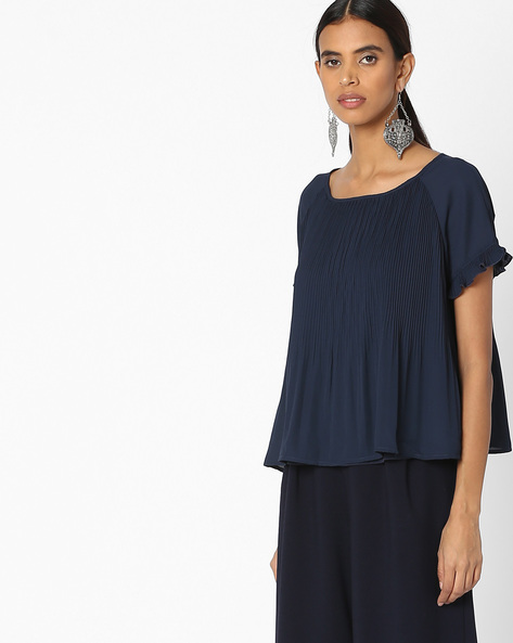 Textured Top With Back Tie-Up By Vero Moda ( Black )