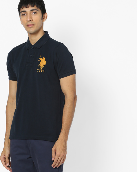 Cotton Polo T-shirt By US POLO ( Navy )
