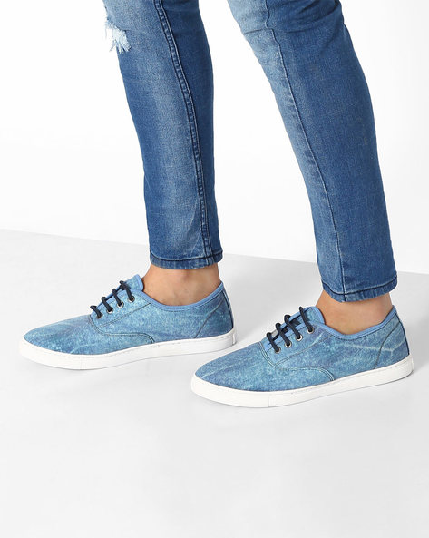 Printed Panelled Sneakers By AJIO ( Lightblue )