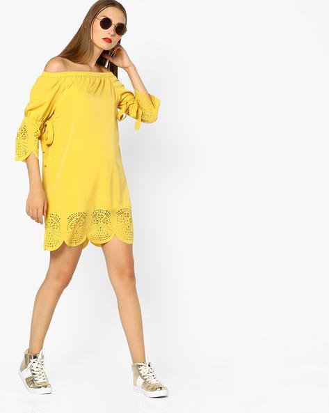 Off-Shoulder Shift Dress By AJIO ( Mustard )
