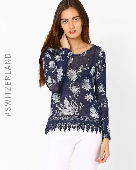 Knitted Floral Print T-shirt With Lace Trim By TALLY WEiJL ( Navyblue )