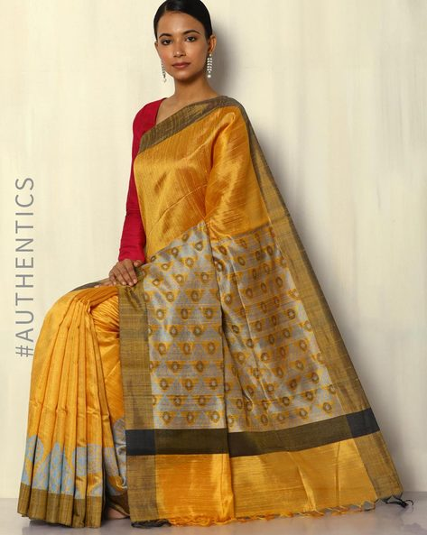 Pure Silk Dupion Designer Handloom Saree With Geometric Pallu By Pretty Woman ( Yellow )