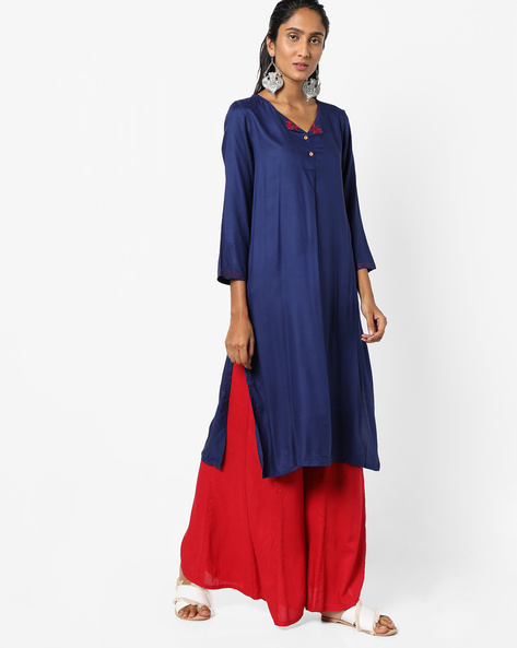 Straight Kurta With Embroidery By Global Desi ( Indigo )