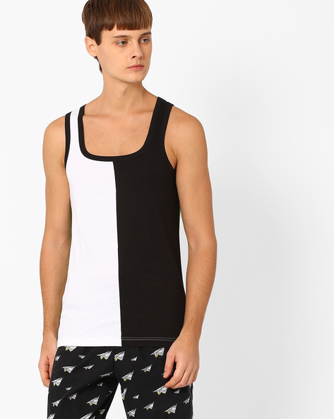 Colourblock Cotton Fashion Vest By CHROMOZOME ( White )
