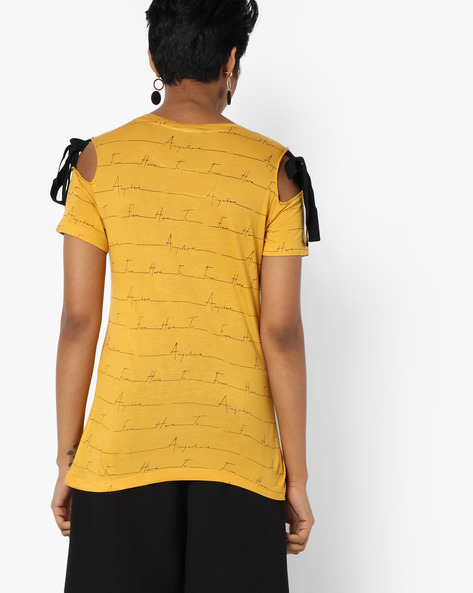 Printed Jersey Top With Cold-Shoulder Sleeves By AJIO ( Mustard )