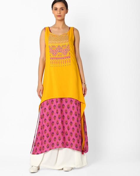 Printed Layered Kurta By Global Desi ( Yellow )