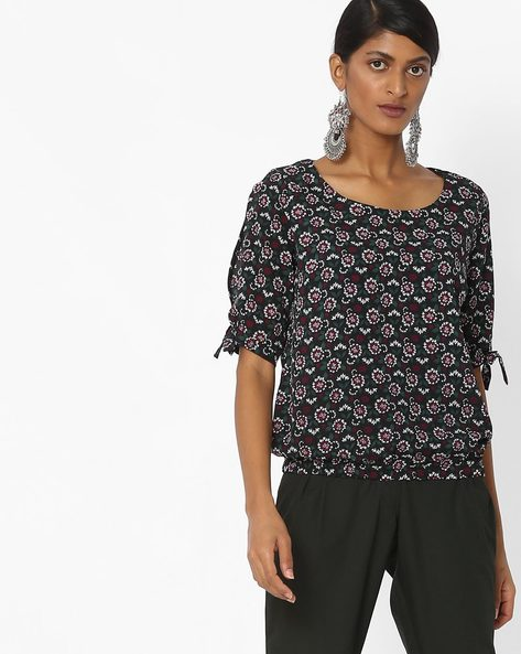Printed Top With Tie- Up Sleeves By CODE By Lifestyle ( Black )