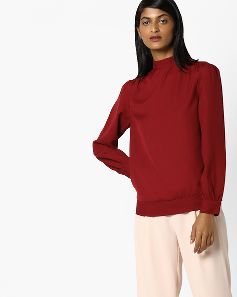 Blouson Top With Tie-Up By AJIO ( Maroon )