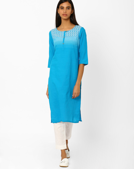 Cotton Straight Kurta By AURELIA ( Blue )