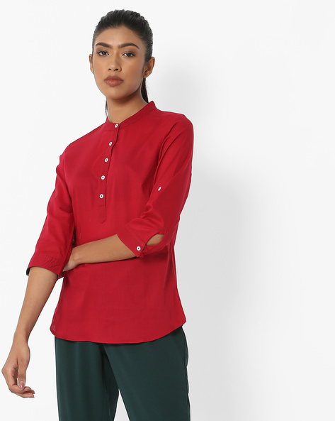 Textured Top With Band Collar By DNMX ( Red )