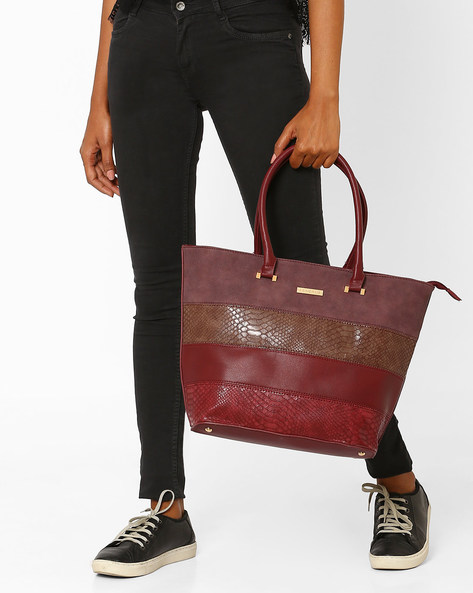 Textured Handbag With Patchwork By Addons ( Maroon )