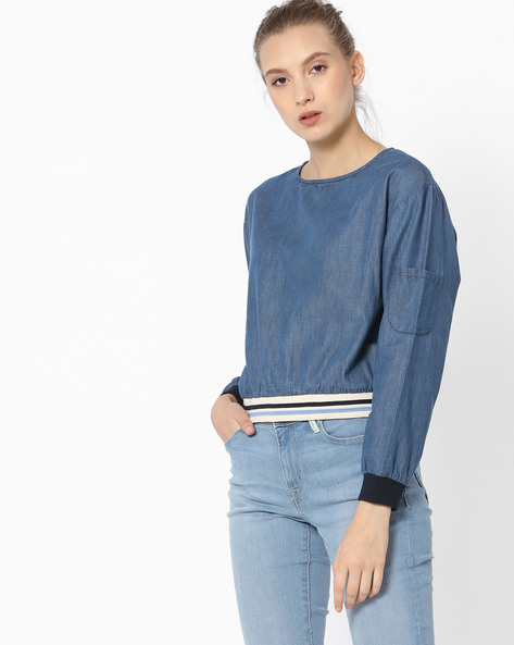 Top With Drop-Shoulder Sleeves By Ginger By Lifestyle ( Blue )